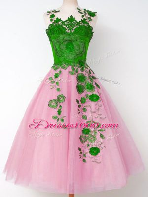 Straps Long Sleeves Lace Up Court Dresses for Sweet 16 Rose Pink Tulle
