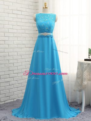 High End Zipper Wedding Party Dress Baby Blue for Prom and Party and Wedding Party with Beading and Lace Brush Train