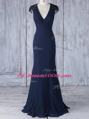 Customized V-neck Cap Sleeves Wedding Party Dress Floor Length Lace Navy Blue Chiffon