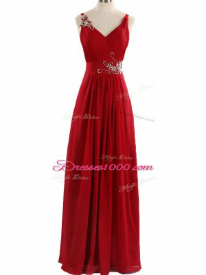 Sleeveless Beading and Ruching Zipper Prom Party Dress