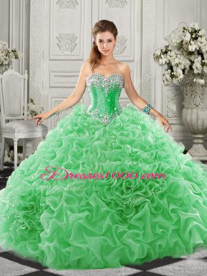 Fine Green Lace Up Ball Gown Prom Dress Beading and Ruffles Sleeveless Court Train