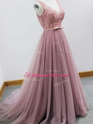 Popular V-neck Sleeveless Dama Dress Brush Train Beading and Belt Pink Tulle