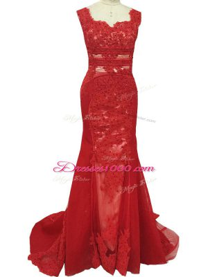 Glamorous Red Sleeveless Lace Zipper Mother of Bride Dresses