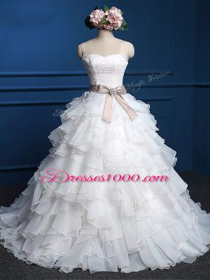 Modern Floor Length Ball Gowns Sleeveless White Wedding Dress Lace Up