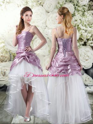 White And Purple Lace Up Wedding Gown Ruffles Sleeveless High Low