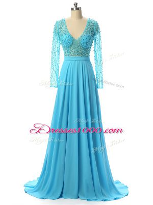 High Class Chiffon V-neck Long Sleeves Brush Train Zipper Beading Mother of the Bride Dress in Baby Blue