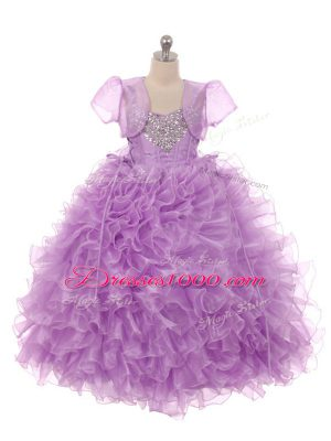 Trendy Floor Length Lace Up Kids Formal Wear Eggplant Purple for Wedding Party with Beading and Ruffles