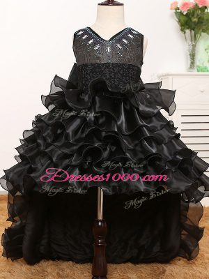New Style Black Little Girl Pageant Gowns Wedding Party with Beading and Ruffles and Bowknot V-neck Sleeveless Zipper