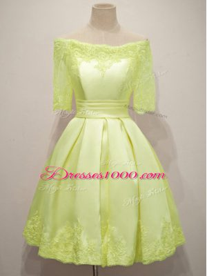 Suitable Half Sleeves Lace Lace Up Bridesmaid Dresses