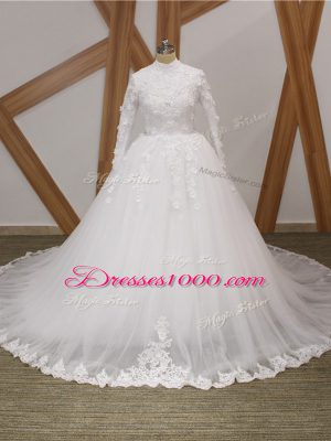 Lovely White Wedding Gown Wedding Party with Lace and Appliques High-neck Long Sleeves Court Train Zipper