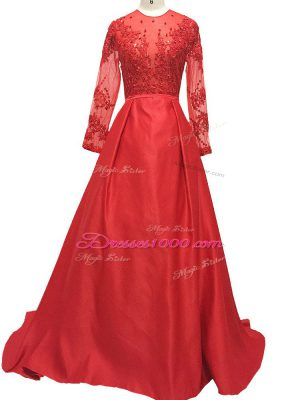 Red Long Sleeves Elastic Woven Satin Brush Train Zipper Mother of Groom Dress for Prom and Party and Military Ball and Sweet 16
