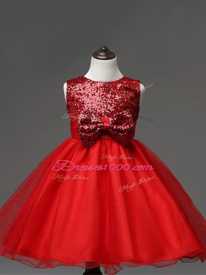 Popular Red Ball Gowns Scoop Sleeveless Tulle Tea Length Zipper Sequins and Bowknot Toddler Flower Girl Dress