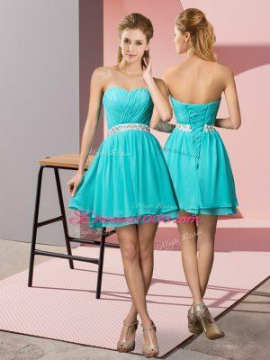 Trendy Sweetheart Sleeveless Lace Up Homecoming Dress Online Aqua Blue Chiffon