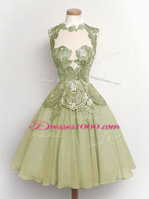 High-neck Sleeveless Lace Up Wedding Party Dress Olive Green Chiffon