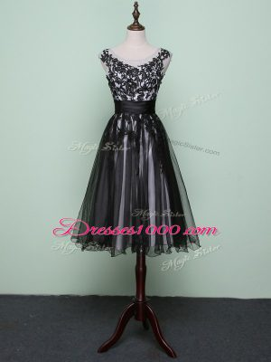 Black Tulle Zipper Homecoming Dress Sleeveless Knee Length Lace and Appliques