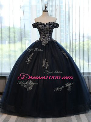Perfect Off The Shoulder Sleeveless Quinceanera Gown Floor Length Appliques Navy Blue Tulle