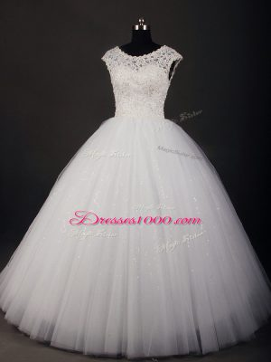 White Lace Up Wedding Dress Lace Sleeveless Floor Length