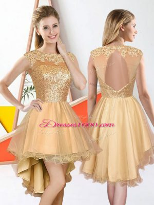 Suitable Champagne Organza Backless Court Dresses for Sweet 16 Sleeveless High Low Beading and Lace