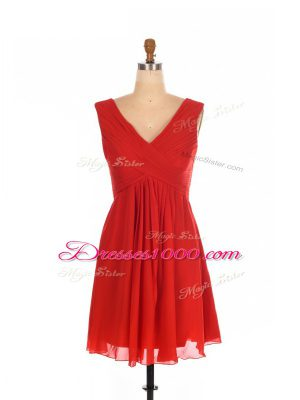 Red Chiffon Zipper One Shoulder Sleeveless Mini Length Bridesmaid Dress Ruching