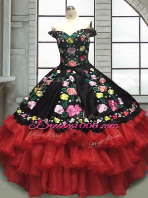 Pretty Ball Gowns Sweet 16 Dresses Red And Black Off The Shoulder Organza and Taffeta Sleeveless Floor Length Lace Up