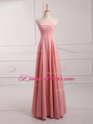 Traditional Strapless Sleeveless Chiffon Court Dresses for Sweet 16 Ruching Lace Up