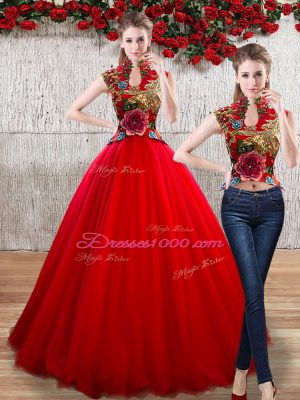 Comfortable High-neck Sleeveless Organza Quinceanera Gown Appliques Lace Up