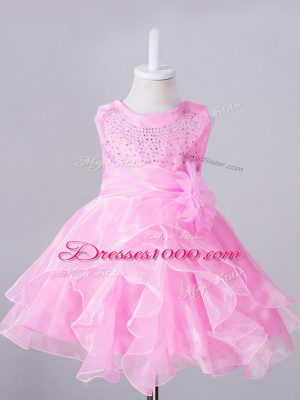 Hot Selling Organza Sleeveless Knee Length Flower Girl Dress and Beading and Hand Made Flower