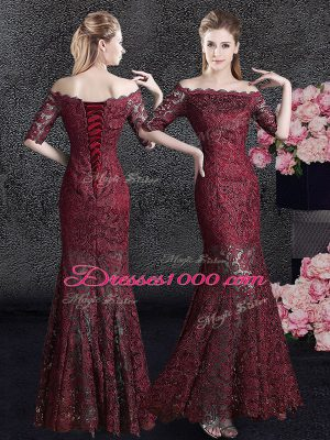 New Style Mermaid Wine Red Off The Shoulder Lace Up Lace Mother of Bride Dresses Half Sleeves
