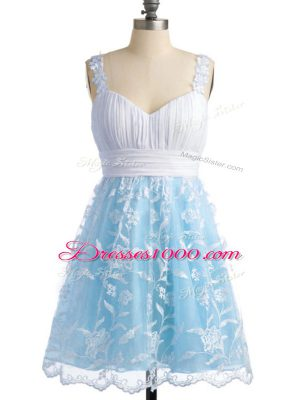 New Style Knee Length Empire Sleeveless Light Blue Bridesmaid Dresses Lace Up