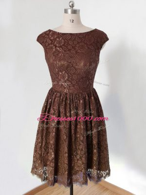 Nice Brown Scoop Neckline Lace Bridesmaid Dresses Cap Sleeves Lace Up