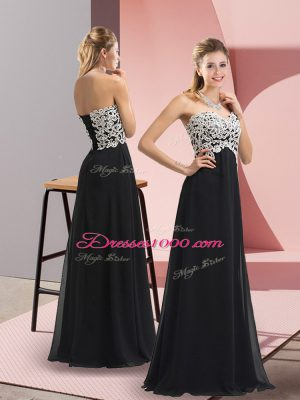 Black Lace Up Sweetheart Lace Dress for Prom Chiffon Sleeveless