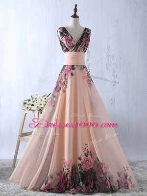Sleeveless Floor Length Ruching Lace Up Prom Gown with Peach