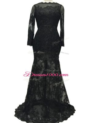 Excellent Backless Mother Dresses Black for Prom and Party and Sweet 16 with Lace and Belt Brush Train