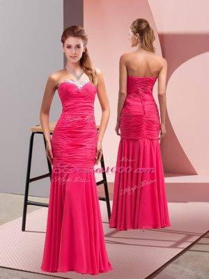 Modest Hot Pink Chiffon Lace Up Sweetheart Sleeveless Floor Length Prom Gown Sequins