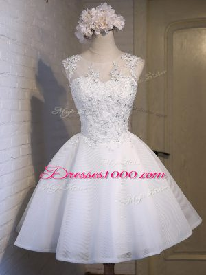 Simple White Ball Gowns Organza Scoop Sleeveless Lace Mini Length Lace Up Bridesmaid Dress