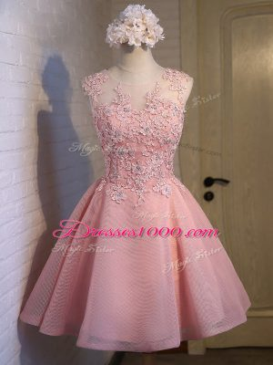 Designer Sleeveless Mini Length Lace Lace Up Wedding Party Dress with Pink