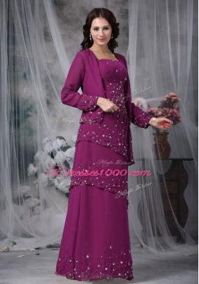 Chiffon Sleeveless Floor Length Mother of Bride Dresses and Beading