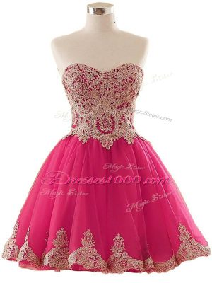 Cute Hot Pink Prom Evening Gown Prom and Party and Sweet 16 with Appliques Sweetheart Sleeveless Lace Up