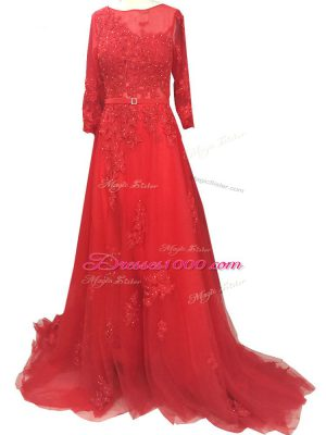 Pretty Red A-line Bateau Long Sleeves Tulle Brush Train Zipper Lace and Appliques and Belt Prom Gown