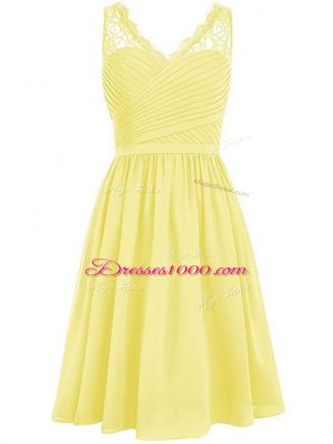 Inexpensive Knee Length Empire Sleeveless Yellow Bridesmaids Dress Side Zipper