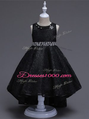 Enchanting Black Lace Up Flower Girl Dresses for Less Beading Sleeveless High Low