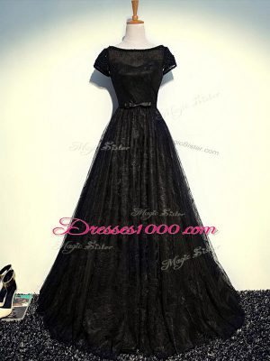 Floor Length Empire Short Sleeves Black Mother of the Bride Dress Zipper