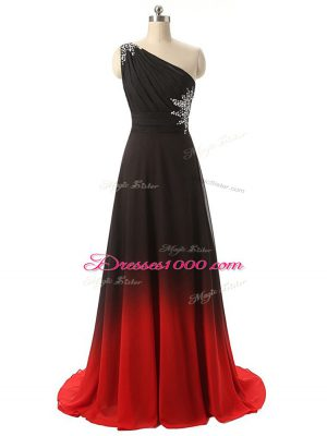 Dynamic Sleeveless Beading and Ruching Lace Up Prom Evening Gown with Multi-color Brush Train