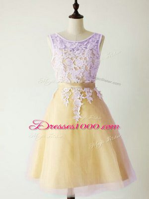 Sleeveless Knee Length Lace Lace Up Wedding Guest Dresses with Gold