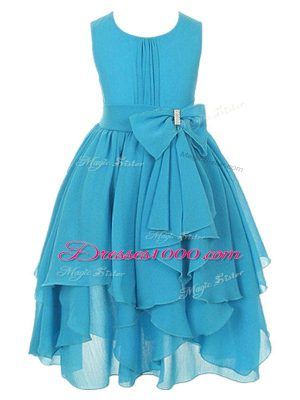 Romantic Asymmetrical Zipper Toddler Flower Girl Dress Aqua Blue for Wedding Party with Ruffles and Bowknot