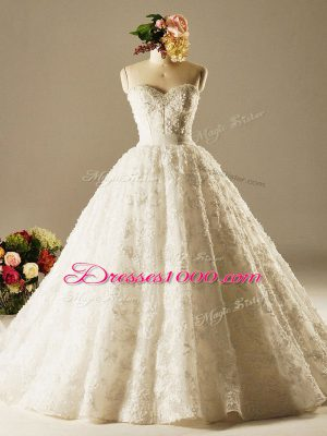 Sleeveless Beading and Lace Lace Up Wedding Gown with White Brush Train