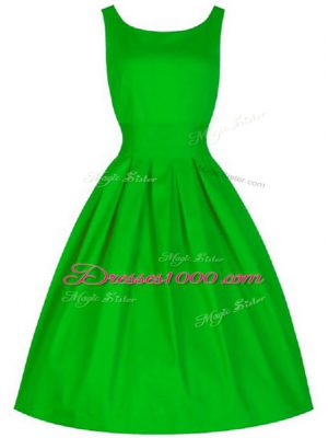 Elegant Green Sleeveless Ruching Knee Length Bridesmaid Dress
