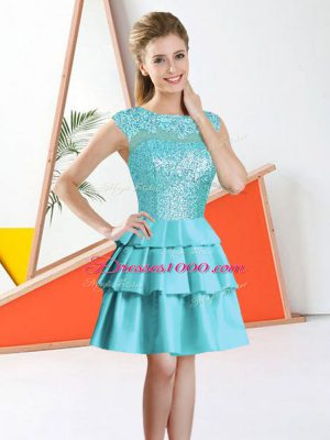 Luxurious Bateau Sleeveless Backless Wedding Party Dress Aqua Blue Taffeta