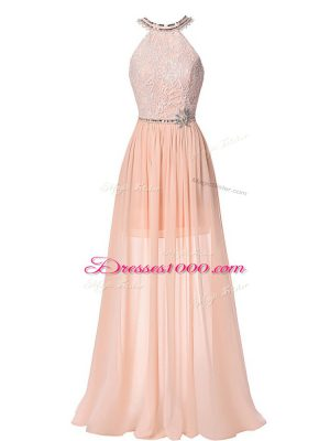 Colorful Peach Formal Evening Gowns Prom and Military Ball and Beach with Beading Halter Top Sleeveless Backless