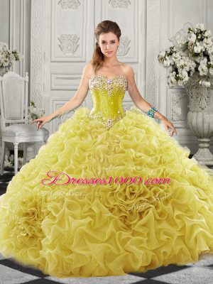 Admirable Sweetheart Sleeveless Quinceanera Dress Court Train Beading and Ruffles Yellow Organza